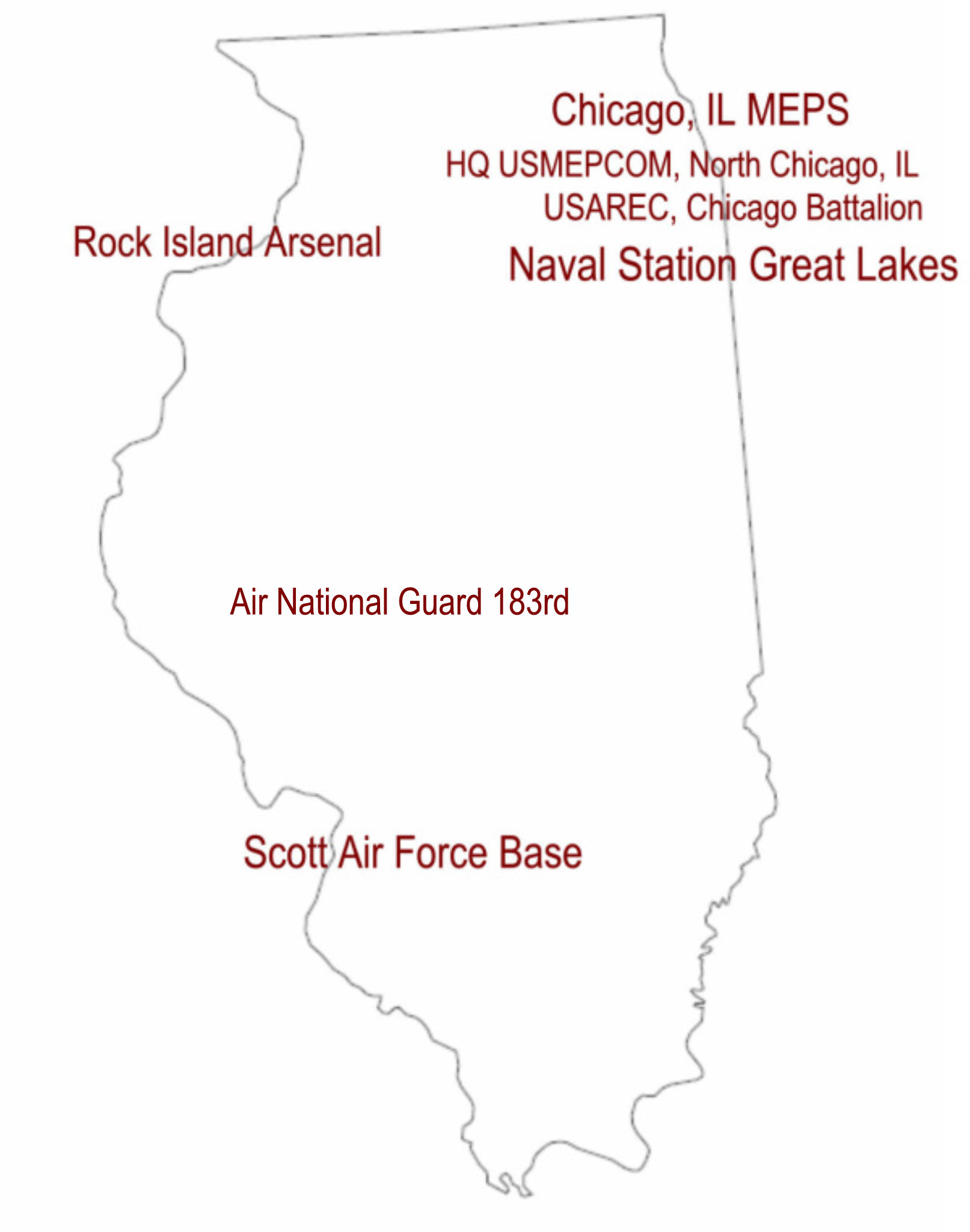 Map showing the location of Military Installations in Illinois