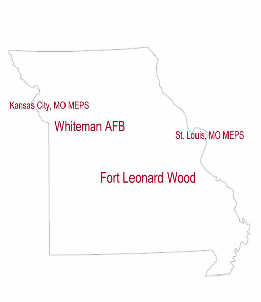 Map of Missouri locating Military Installations
