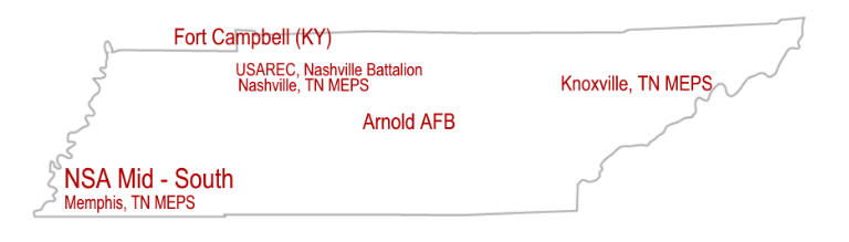 Map locating Military Installations in Tennessee